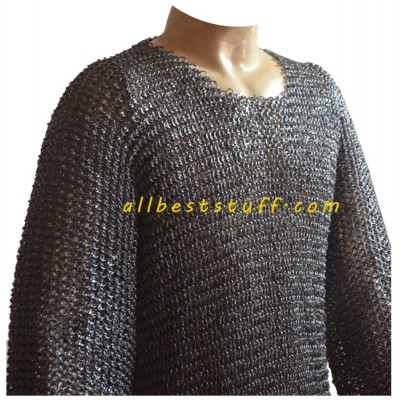 Round Riveted Heavy Chain Mail Shirt Chest 44 Short Length
