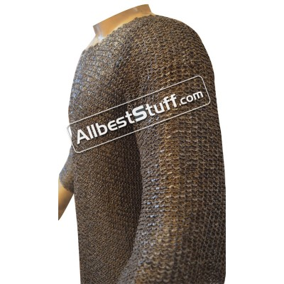 Full Sleeve Chain Mail Hauberk Round Riveted Solid Chest 54