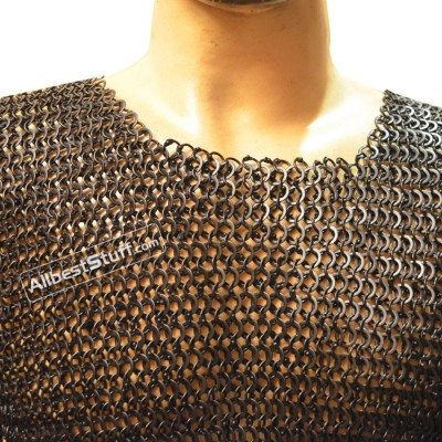 Medieval Body Armour Round Riveted Flat Solid Chain Mail Chest 40