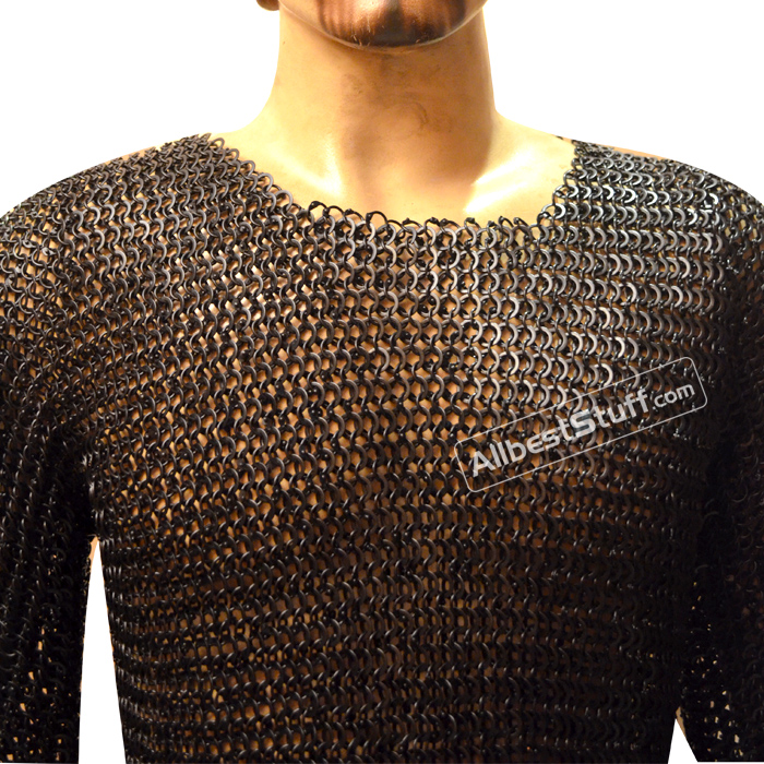 Round Mixed with Solid Maille Shirt Long Comfort Chest 38