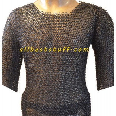 38 Chest Size Round Riveted Chain Mail Shirt Long Sleeve