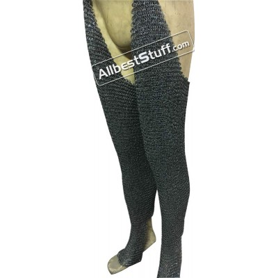 Round Riveted Chain Mail Chausses 6 MM Legging