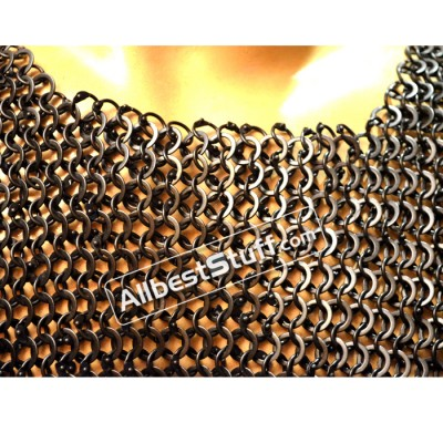 Round Riveted Flat Solid Maille Armour Chest 48 Full Sleeves
