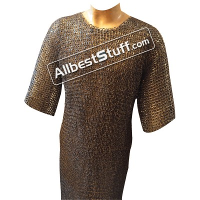 Stainless Steel Maille Hauberk Flat Riveted Chest 45