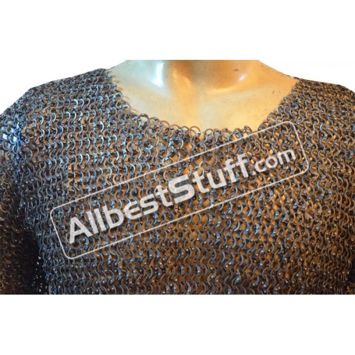 Titanium Chain Mail Shirt Flat Riveted Chain Mail Haubergeon