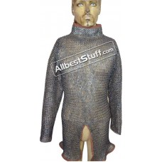 High Collar Titanium Chain Mail Hauberk Chest 40