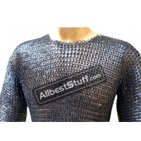 Chain Mail Hauberk Wedge Riveted Maille Long Sleeves