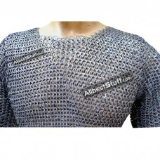Chain Mail Hauberk Wedge Riveted Alternating Solid Chest 40
