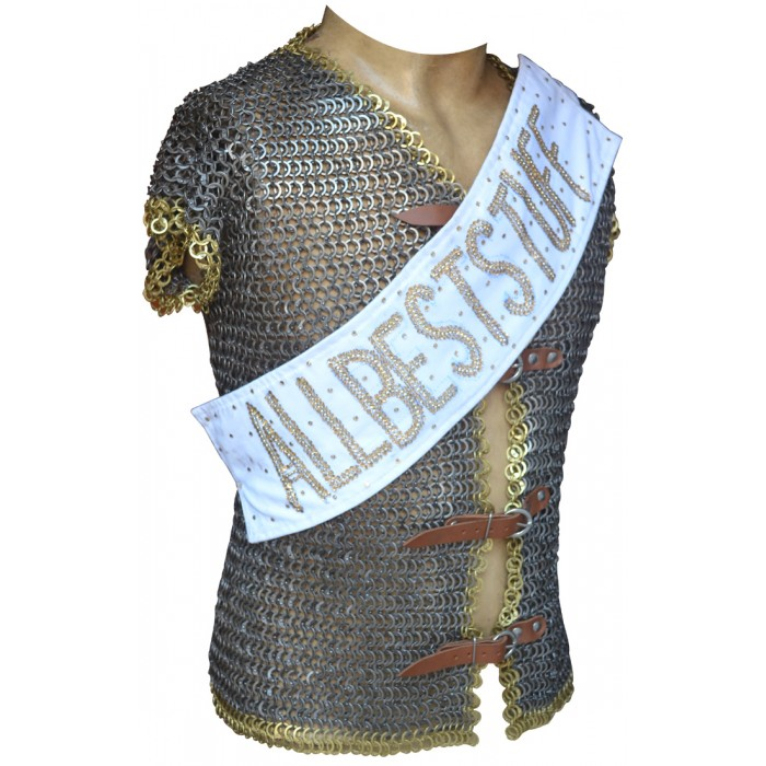 Chain Mail Riveted Jacket with Leather Fasteners