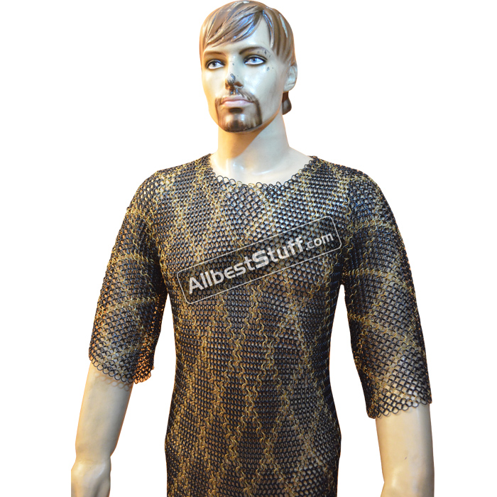Maille Hauberk Butted Chain Mail Shirt with Brass Design