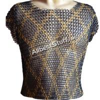 Maille Hauberk Butted Chain Mail Shirt Sleeveless Brass Design