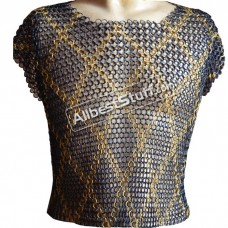 Maille Hauberk Butted Chain Mail Shirt Sleeveless Brass Design