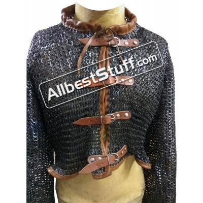 Medieval Flat Riveted Chain Mail Short Length Front Open