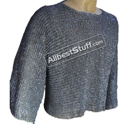 Chain Mail Half Shirt 6 mm Flat Riveted Solid Front Closed