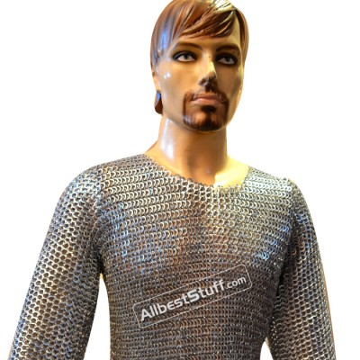 Short Length 8 MM Flat Riveted Chain Mail Shirt Chest 40 inches