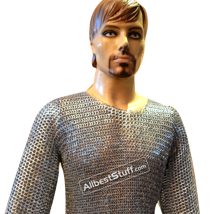 8 MM Flat Riveted Chain Mail Shirt Chest 40 inches Length 36