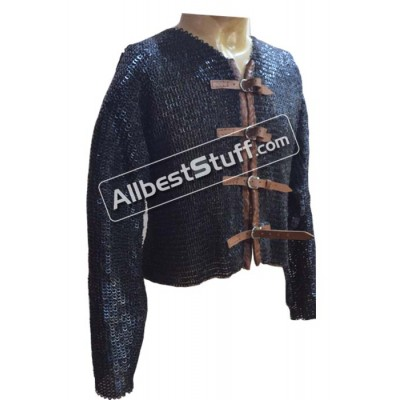 Flat Riveted Solid Chain Mail Half Shirt Front Buckle