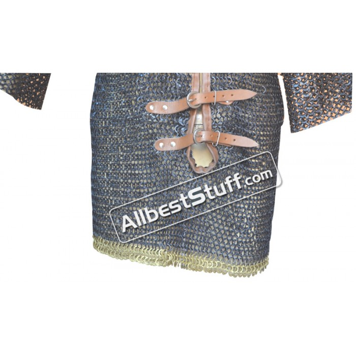 Medieval Chain Mail Shirt Flat Dome Riveted Leather Solid Brass Maille