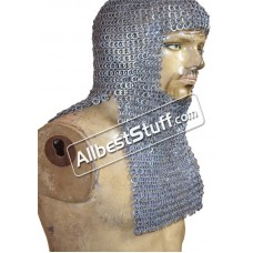 6 MM Flat Riveted Solid Rectangle Bottom Helm Maille Hood