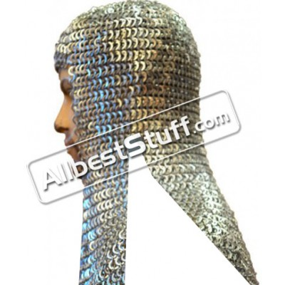 Flat Riveted Alternating Solid Aluminum Maille Coif