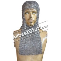 Flat Riveted Solid Rectangle Base Maille Hood
