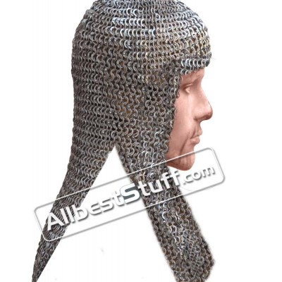 Full Flat Dome Riveted 8 mm Rectangle Maille Coif
