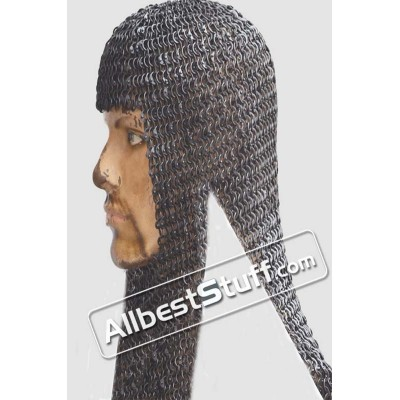 Round Riveted Alternating Solid Maille Coif 18 Gauge