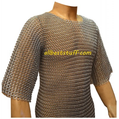 Long Chain Mail Hauberk Butted Chest 40 Long Length Sleeve