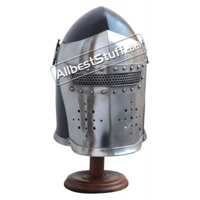 Medieval Visored Barbute Helmet