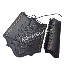 Arm Guard Leather With Metal Accents Leather Arm Bracers