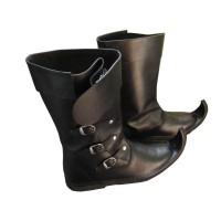 Medieval Leather Boots 3 Buckle Black Re-enactment Mens Shoe