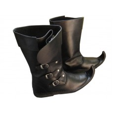 SALE! Medieval Leather Boots 3 Buckle Black Re-enactment Mens Shoe