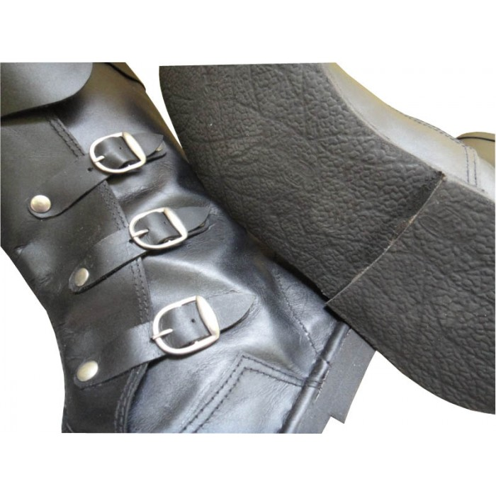 Medieval Leather Boots 3 Buckle Black Re-enactment Mens Shoe
