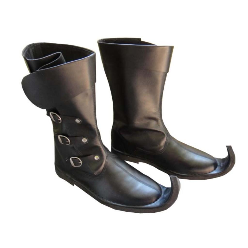 4c50c37ea2 Medieval Leather Boots 3 Buckle Black Re-enactment Mens Shoe