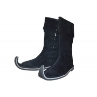 Medieval Leather Pirate Long Boots Black