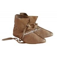 Medieval Leather Shoe Ankle Length Brown, Natural Leather OR Black