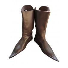 Medieval Leather Boots 3 Buckle Brown Long