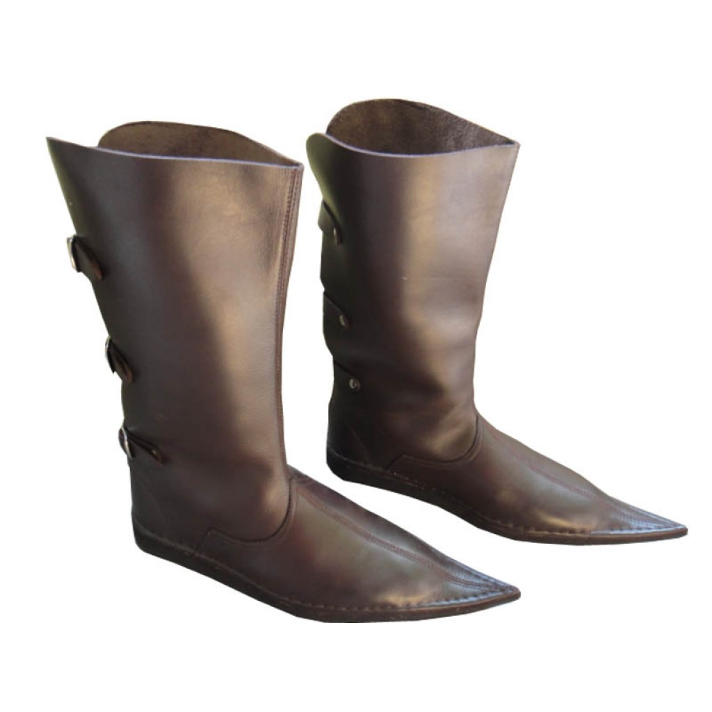 c58e46cf04 Medieval Leather Boots 3 Buckle Brown Long