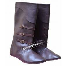 Medieval Leather Boots Long with Brass Buckle
