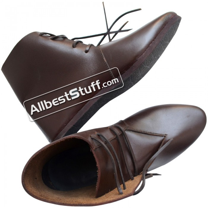 Medieval Ankle Rubber Sole Shoes Hand Made Brown or Black
