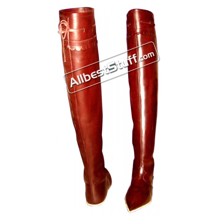 Medieval Leather Boot Female Long Thigh Length
