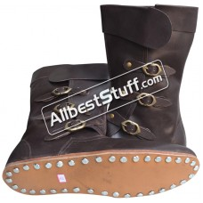 Medieval Leather Boots Long 3 Buckle Hobnail Leather Sole