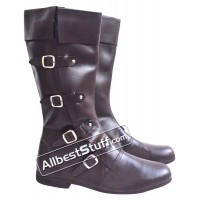 Medieval Leather Boots Long 4 Buckle Brown