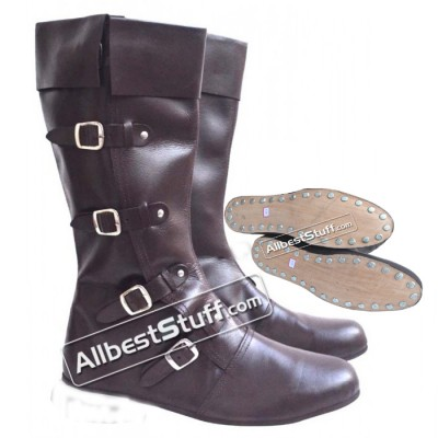 Medieval Leather Boots Long 4 Buckle Brown Hobnail Sole