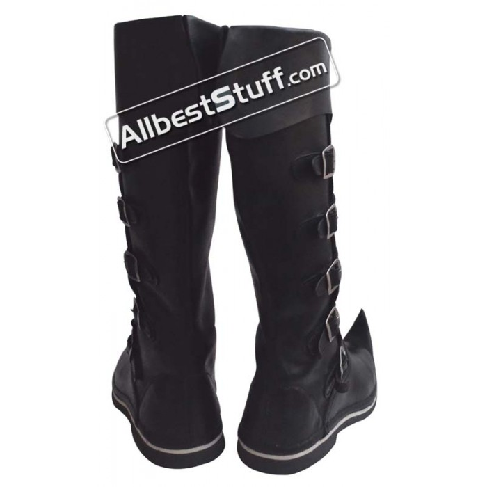 Medieval Leather Boots Long 5 Buckle Black