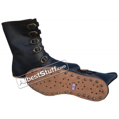 Medieval Leather Boots Long 5 Buckle Hobnail Leather Sole
