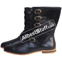 Medieval Long Shoe 5 Brass Buckle Rubber Sole Leather Boots