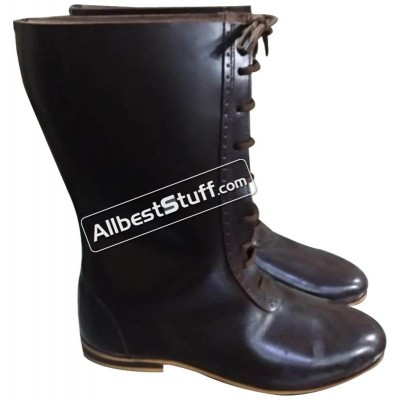 Medieval Long Shoe Rubber Sole Leather Boots Laces