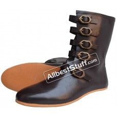 Medieval Rubber Sole Leather Boots 5 Brass Buckle