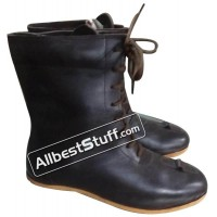 Medieval Rubber Sole Leather Boots Long Shoe